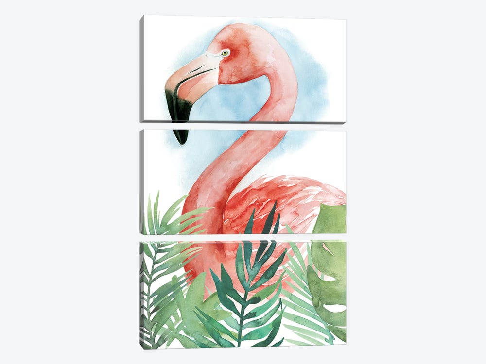 Watercolor Flamingo Composition II by Grace Popp 3-piece Canvas Wall Art
