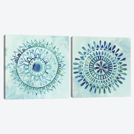 Watercolor Mandala Diptych Canvas Print Set #POP2HSET002} by Grace Popp Canvas Wall Art