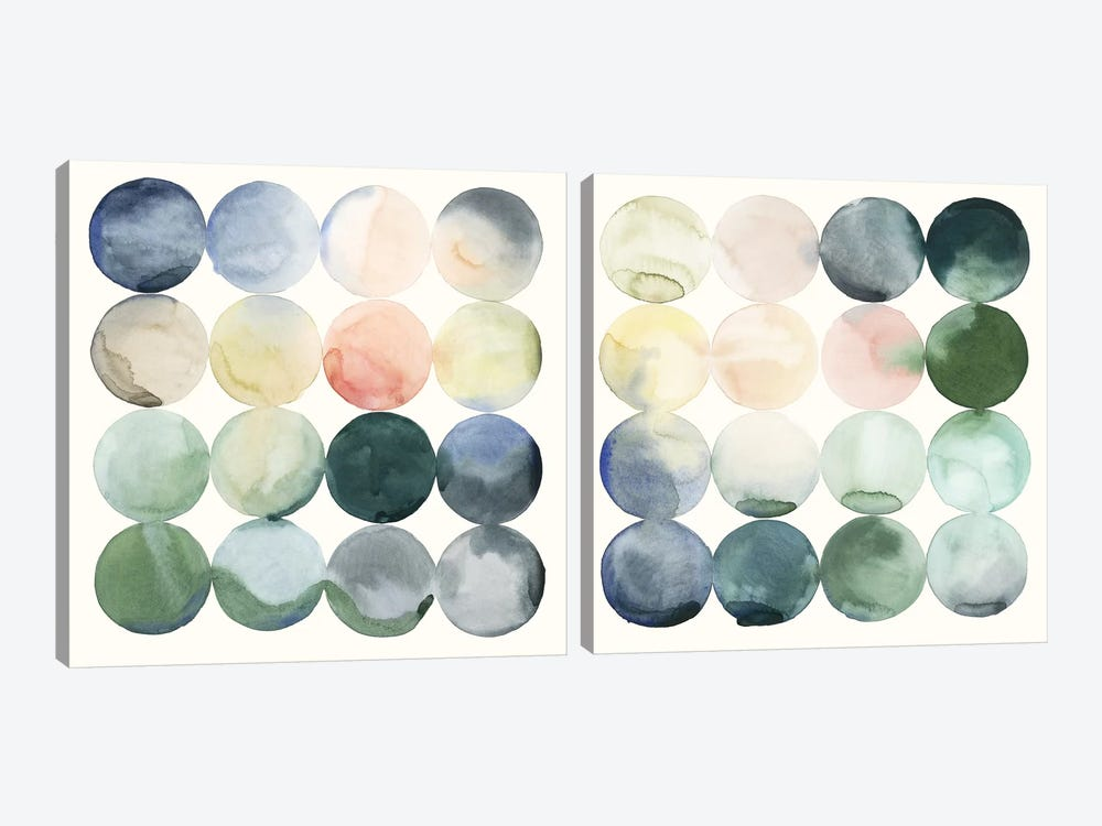 Pastel Hoops Diptych by Grace Popp 2-piece Canvas Artwork