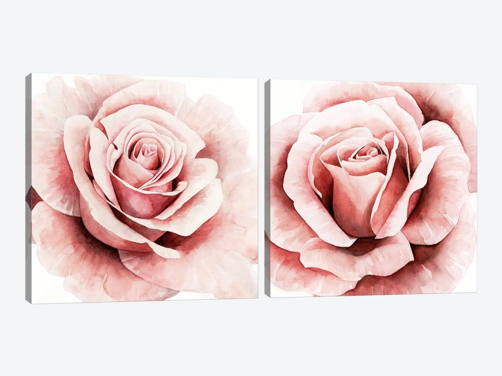 Pink Rose Diptych by Grace Popp 2-piece Art Print