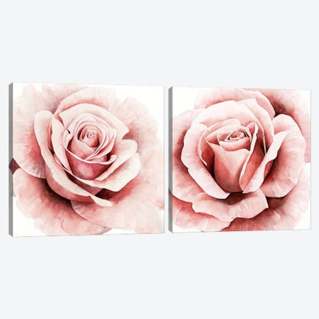 Pink Rose Diptych Canvas Print Set #POP2HSET011} by Grace Popp Canvas Print