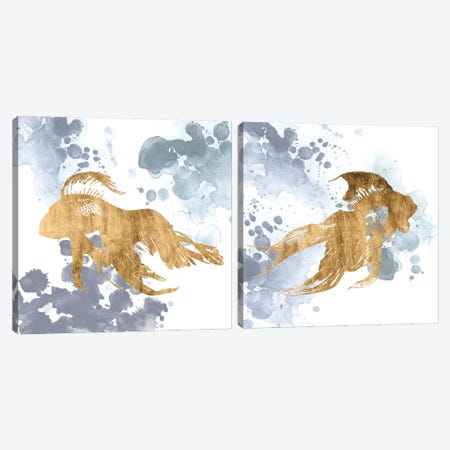 Gilded Splash Diptych Canvas Print Set #POP2HSET019} by Grace Popp Canvas Print