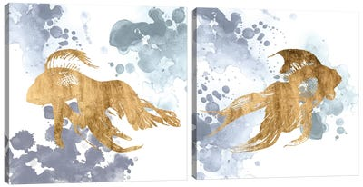 Gilded Splash Diptych Canvas Art Print