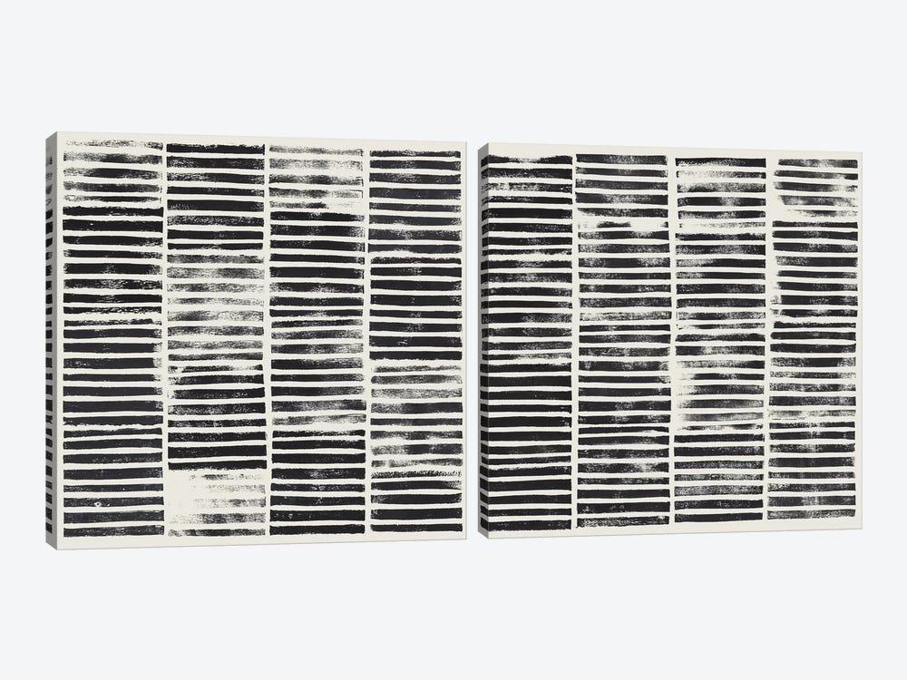 Stripe Block Prints Diptych by Grace Popp 2-piece Canvas Art