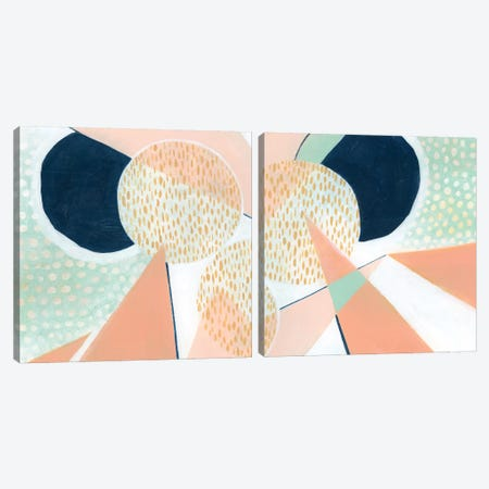 Peach Eclipse Diptych Canvas Print Set #POP2HSET023} by Grace Popp Canvas Artwork