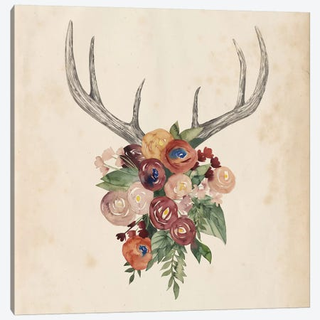 Flower Antlers I Canvas Print #POP328} by Grace Popp Art Print