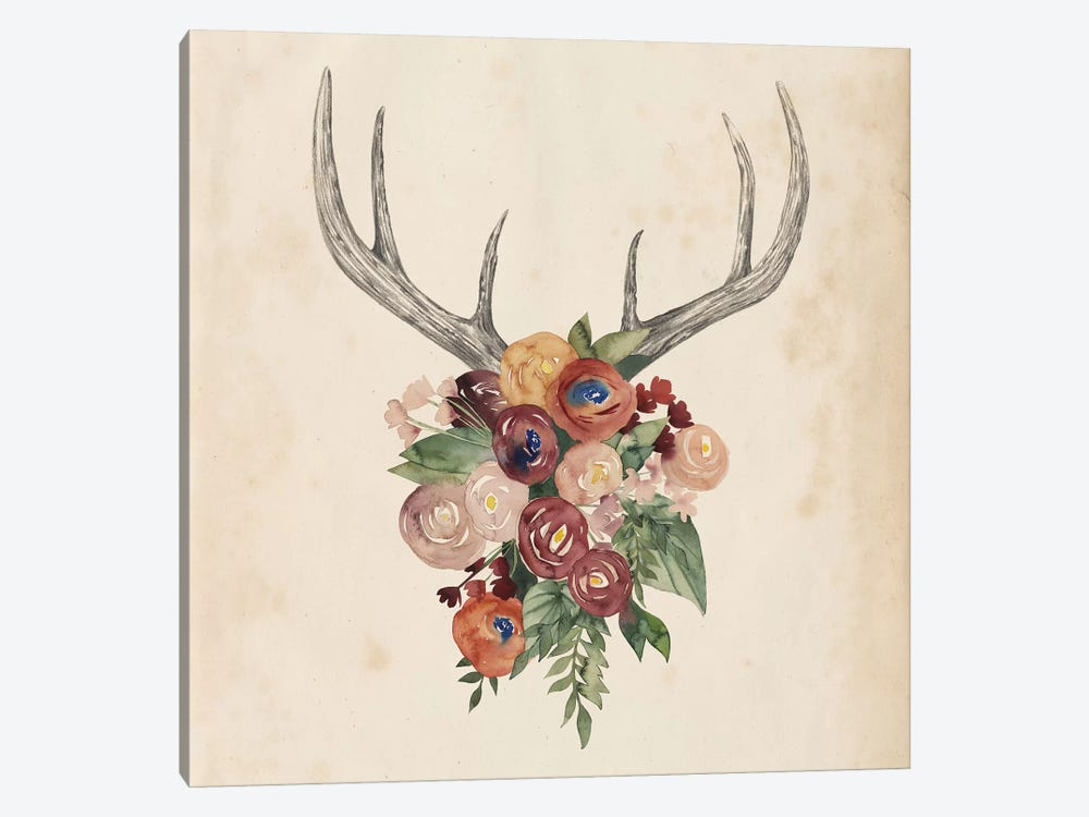 Flower Antlers I by Grace Popp 1-piece Canvas Artwork
