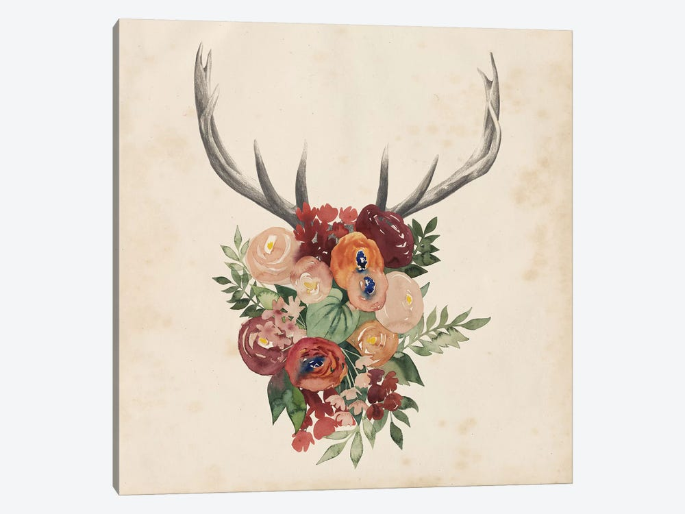 Flower Antlers II 1-piece Canvas Art Print