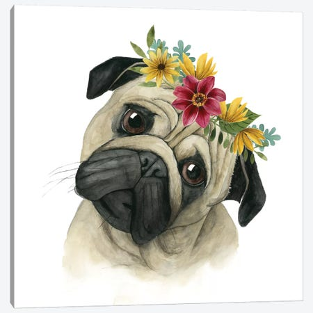 Flower Crown Pup I Canvas Print #POP330} by Grace Popp Canvas Wall Art