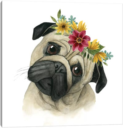 Flower Crown Pup I Canvas Art Print
