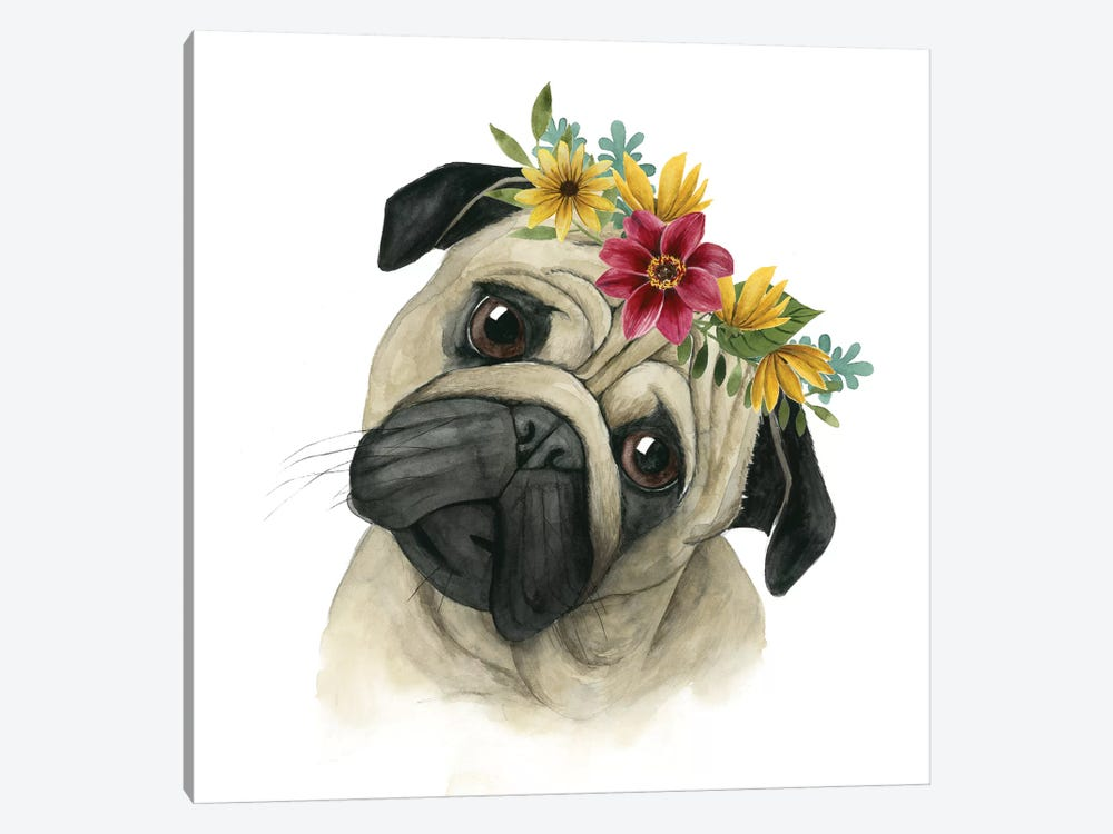 Flower Crown Pup I by Grace Popp 1-piece Canvas Art Print