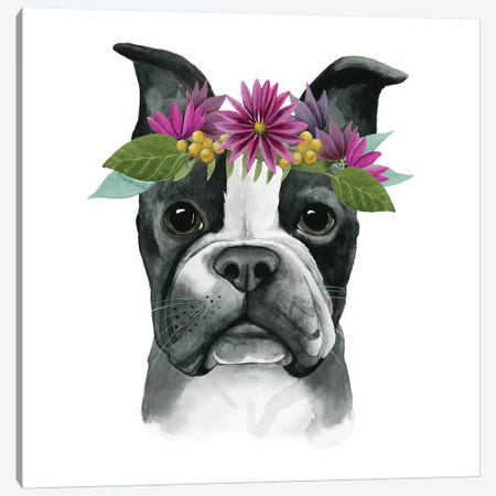 Flower Crown Pup II Canvas Print #POP331} by Grace Popp Canvas Wall Art