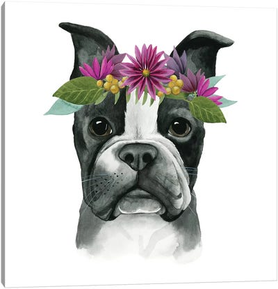 Flower Crown Pup II Canvas Art Print