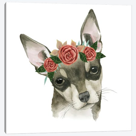 Flower Crown Pup III Canvas Print #POP332} by Grace Popp Canvas Art