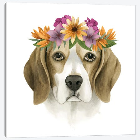 Flower Crown Pup IV Canvas Print #POP333} by Grace Popp Canvas Wall Art