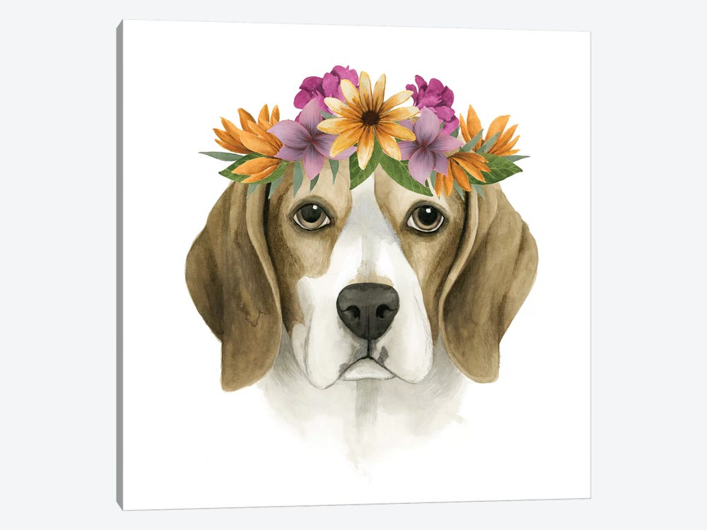 Flower Crown Pup IV by Grace Popp 1-piece Canvas Wall Art