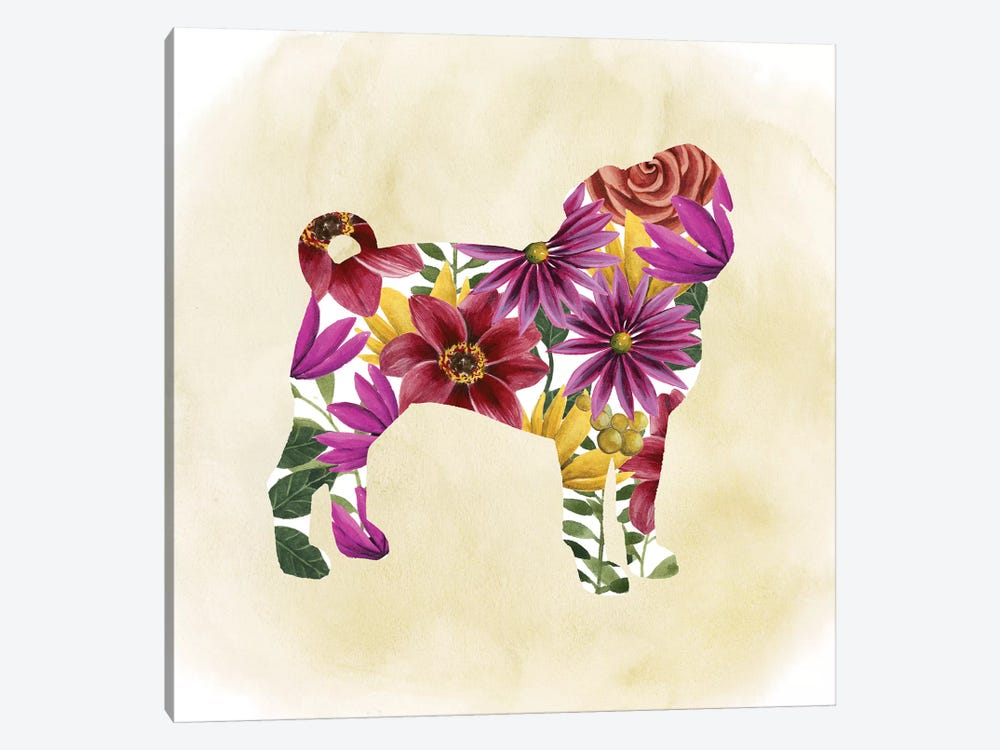 Flower Power Pup III by Grace Popp 1-piece Canvas Art Print
