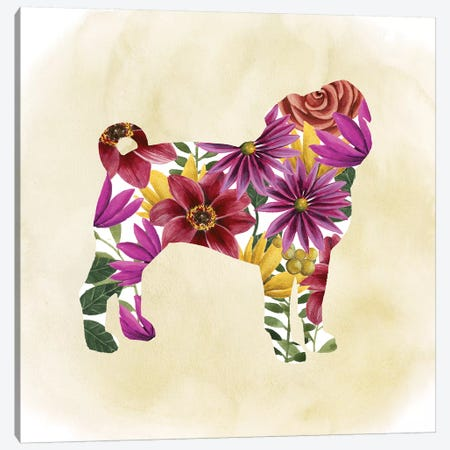 Flower Power Pup III Canvas Print #POP336} by Grace Popp Art Print