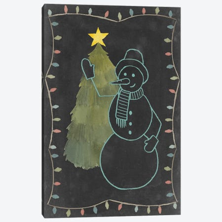 Chalkboard Snowman I Canvas Print #POP38} by Grace Popp Canvas Wall Art