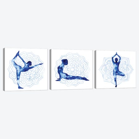Yoga Flow Triptych Canvas Print Set #POP3HSET001} by Grace Popp Canvas Artwork
