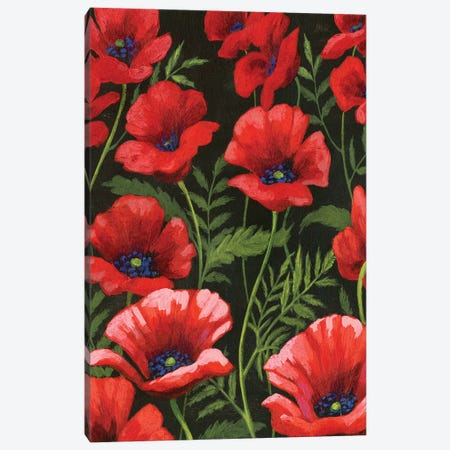 Poppies At Midnight I Canvas Print #POP435} by Grace Popp Canvas Wall Art