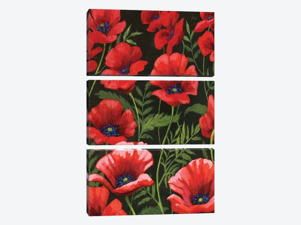 Poppies At Midnight I 3-piece Art Print
