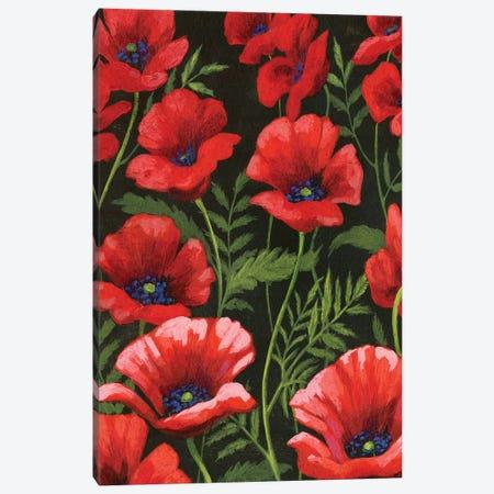 Poppies At Midnight I Canvas Print #POP435} by Grace Popp Canvas Wall Art