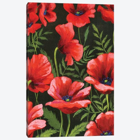 Poppies At Midnight II Canvas Print #POP436} by Grace Popp Canvas Wall Art