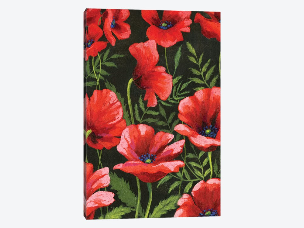 Poppies At Midnight II by Grace Popp 1-piece Canvas Artwork