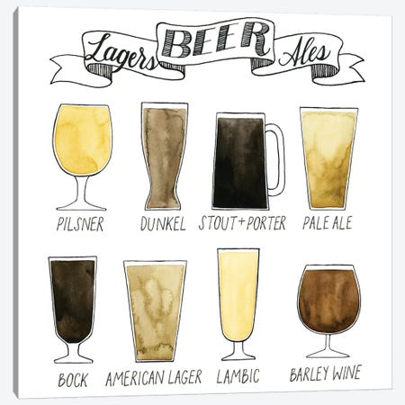 Beer Info Graphic Canvas Print #POP461} by Grace Popp Canvas Art