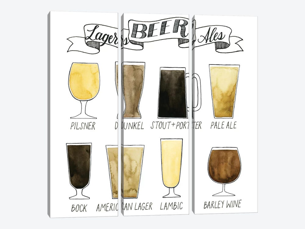 Beer Info Graphic by Grace Popp 3-piece Canvas Artwork