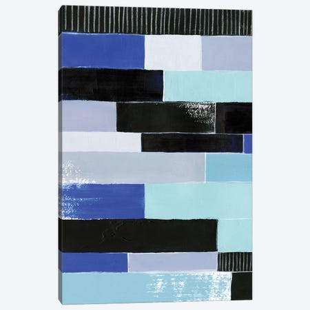 Black & Blue Bricks I Canvas Print #POP462} by Grace Popp Canvas Artwork