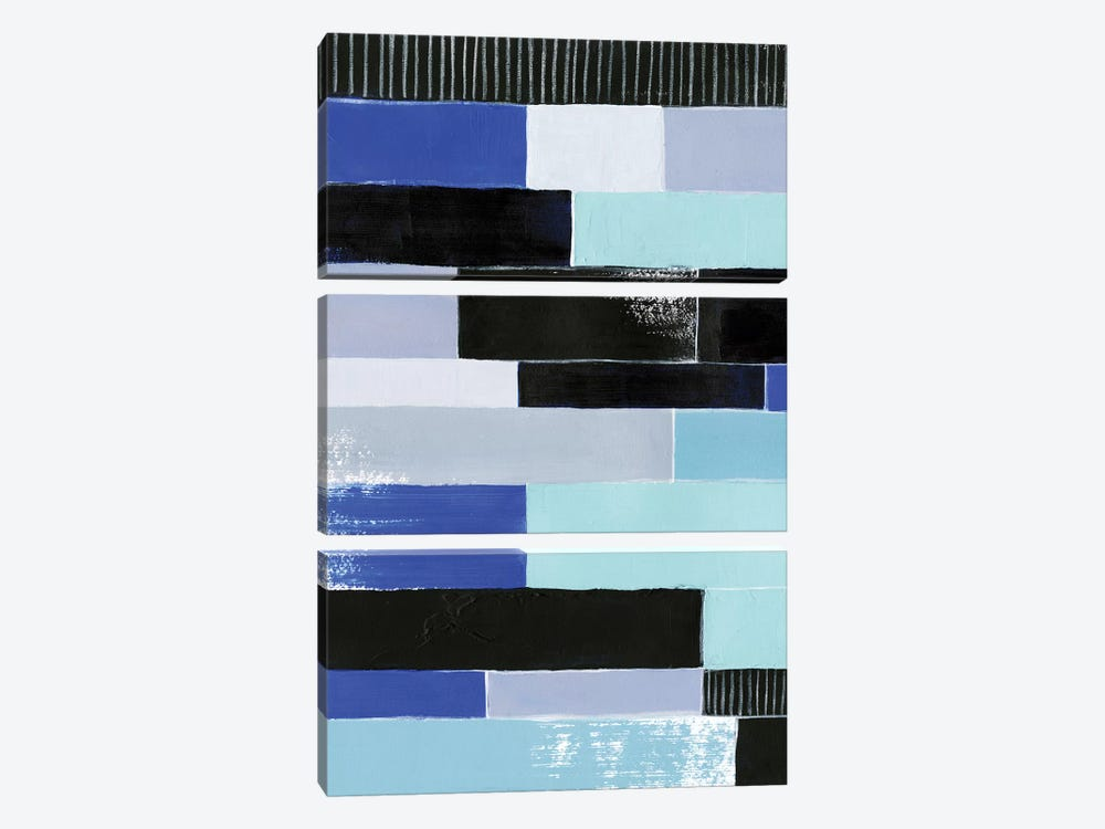 Black & Blue Bricks I 3-piece Canvas Print