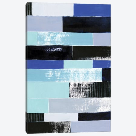 Black & Blue Bricks II 3-Piece Canvas #POP463} by Grace Popp Canvas Artwork
