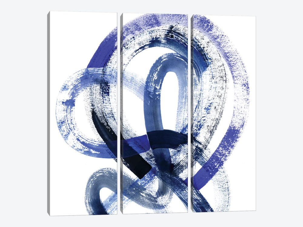 Blue Kinesis IV by Grace Popp 3-piece Canvas Wall Art