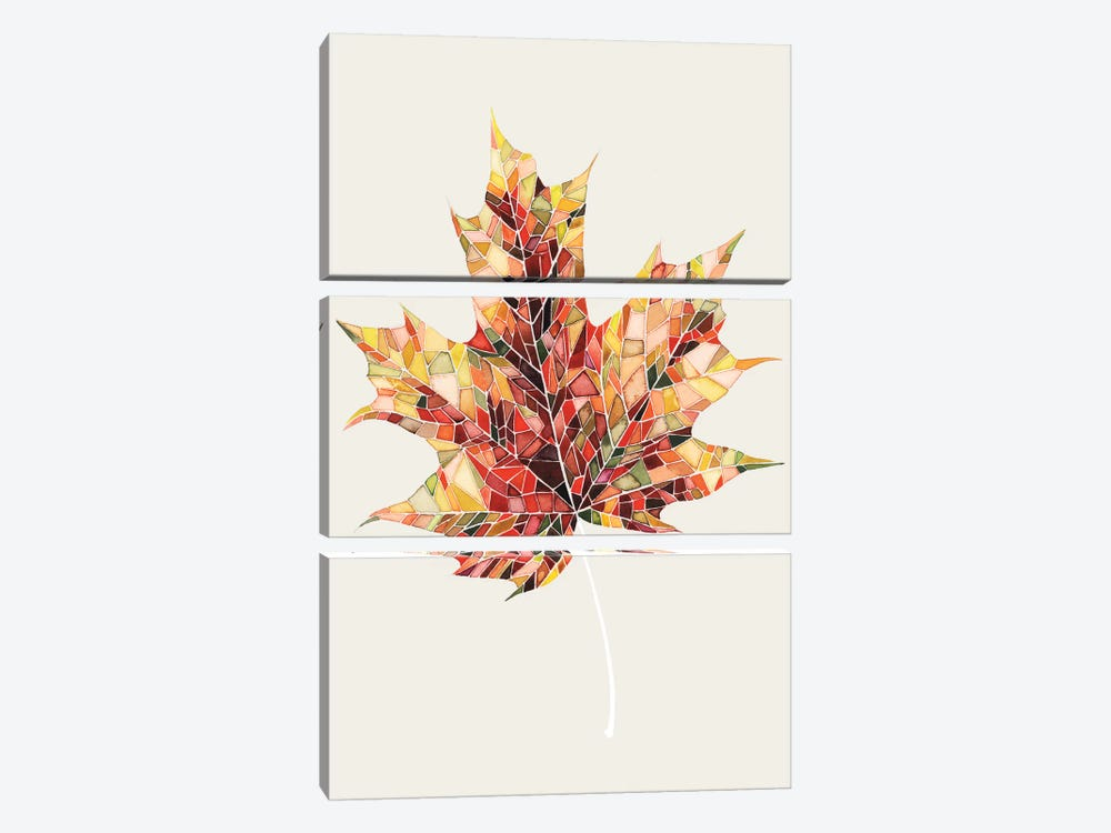 Fall Mosaic Leaf III by Grace Popp 3-piece Canvas Artwork