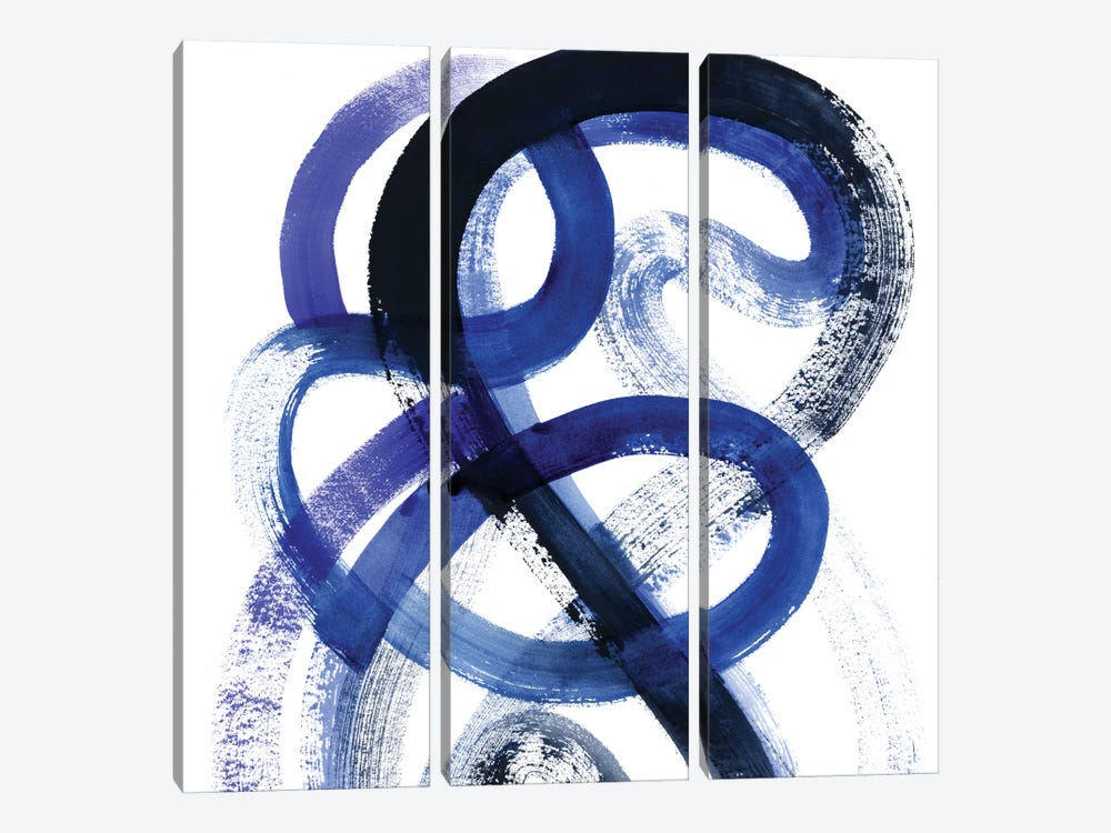 Blue Kinesis VI by Grace Popp 3-piece Canvas Art Print