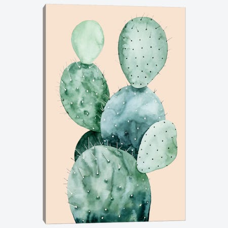 Cactus on Coral II Canvas Print #POP483} by Grace Popp Canvas Wall Art