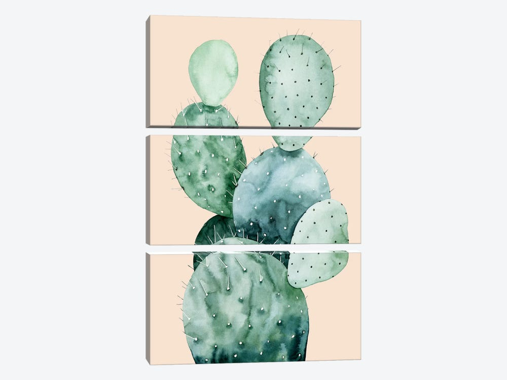 Cactus on Coral II by Grace Popp 3-piece Canvas Artwork