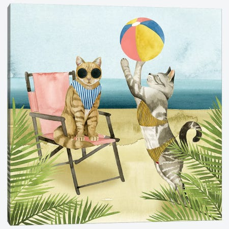Coastal Kitties I Canvas Print #POP488} by Grace Popp Canvas Art