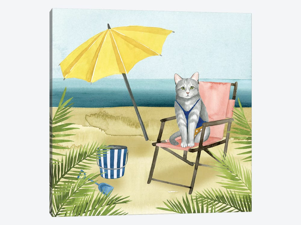Coastal Kitties II by Grace Popp 1-piece Canvas Wall Art