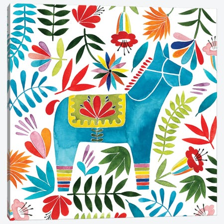 Festive Otomi I Canvas Print #POP509} by Grace Popp Art Print