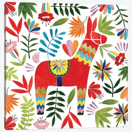 Festive Otomi II Canvas Print #POP510} by Grace Popp Canvas Art