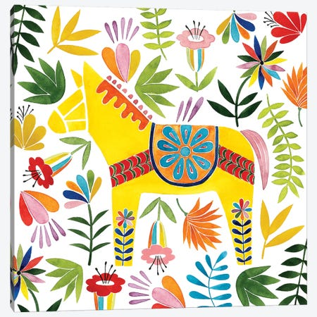 Festive Otomi III Canvas Print #POP511} by Grace Popp Canvas Artwork