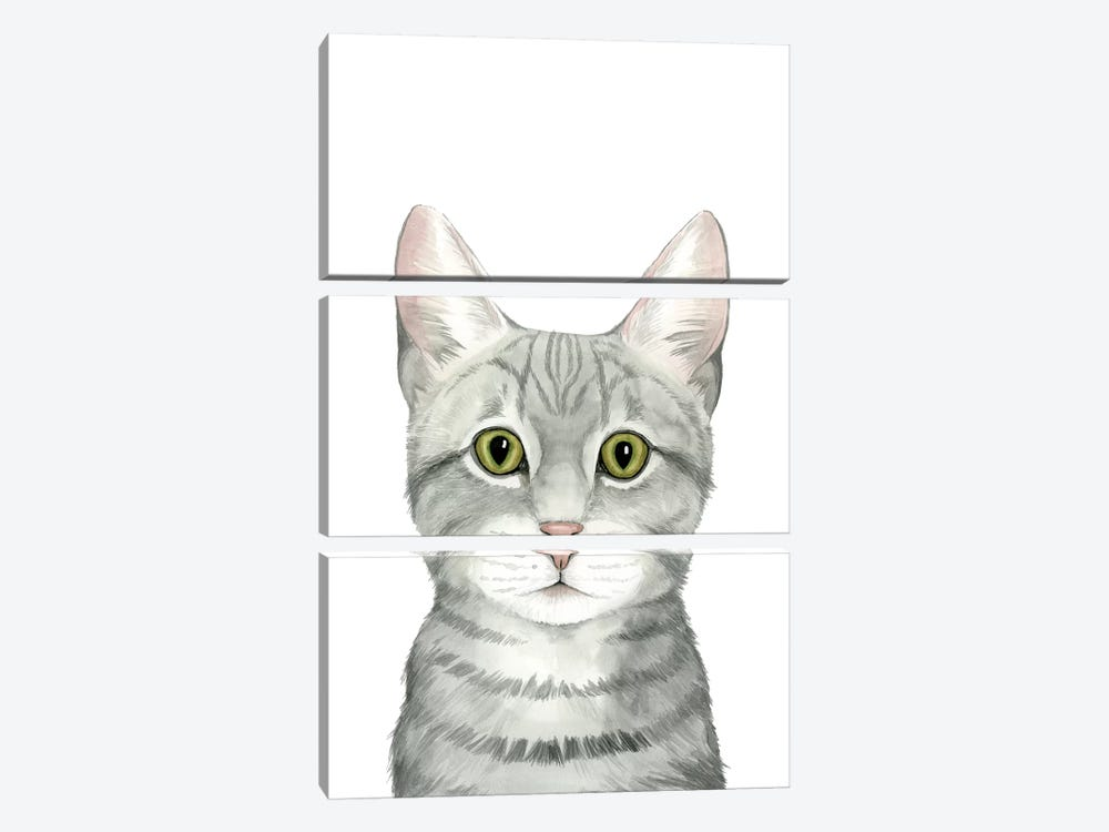 Cat Portrait III by Grace Popp 3-piece Canvas Wall Art