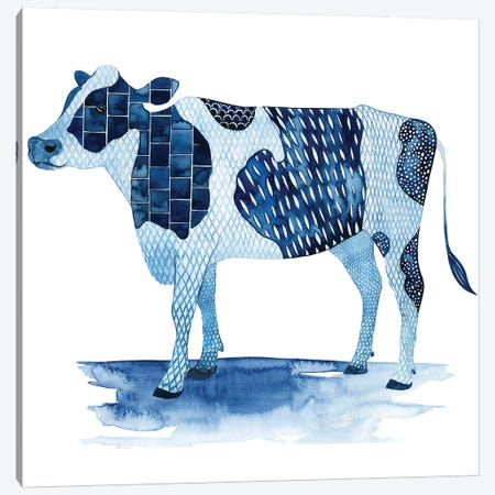 Cobalt Farm Animals I Canvas Print #POP626} by Grace Popp Canvas Art Print