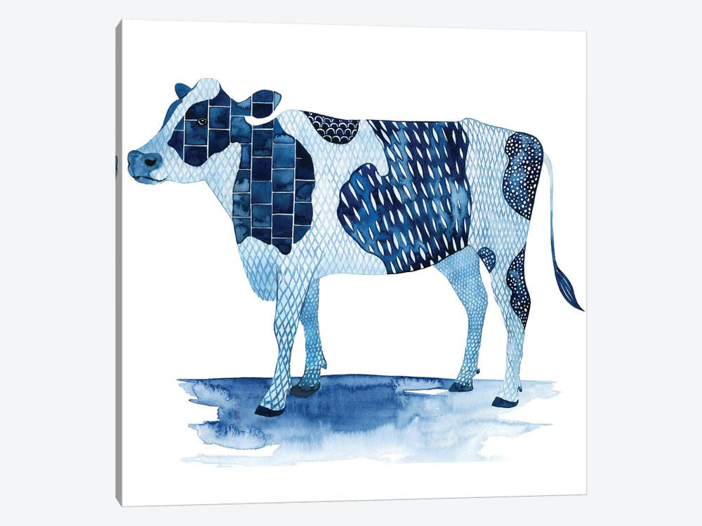 Cobalt Farm Animals I by Grace Popp 1-piece Canvas Artwork