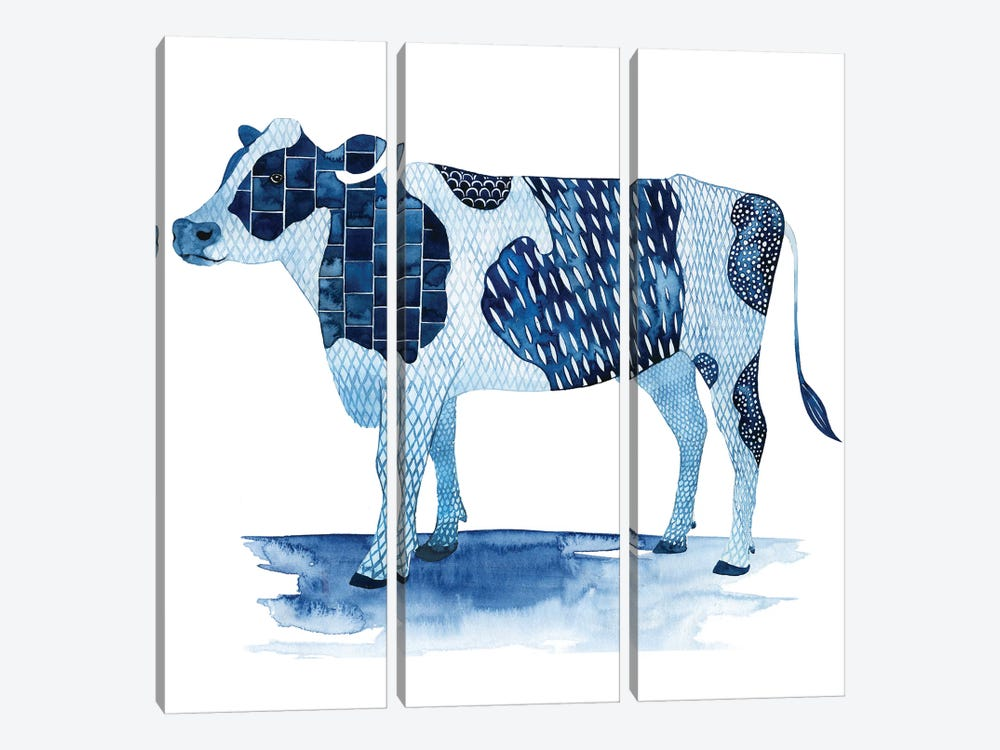 Cobalt Farm Animals I by Grace Popp 3-piece Canvas Artwork