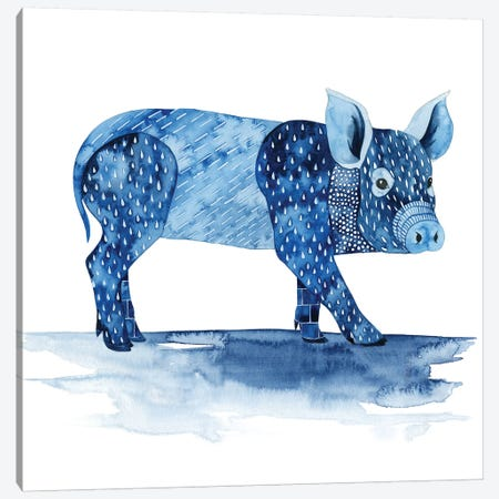 Cobalt Farm Animals II Canvas Print #POP627} by Grace Popp Art Print