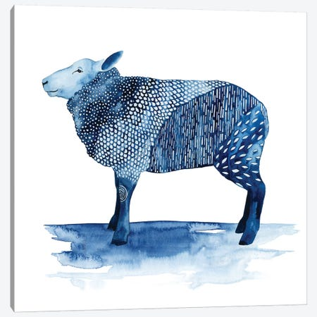 Cobalt Farm Animals III Canvas Print #POP628} by Grace Popp Canvas Artwork